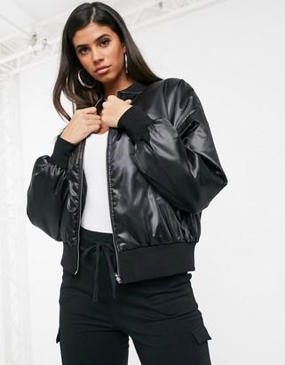 In The Style satin oversized bomber jacket-Black