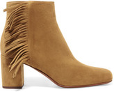 Saint Laurent Babies Fringed Suede Ankle Boots - Tan