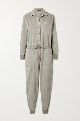 James Perse Mixed Media Slub Cotton-blend Twill Jumpsuit - Beige