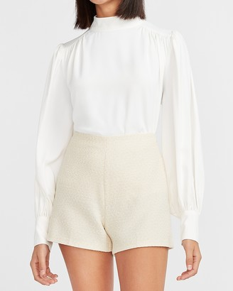 Express High Waisted Ivory Boucle Shorts