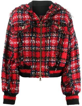 Balmain Boucle Knit Cropped Bomber Jacket