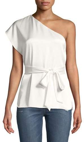 Alice + Olivia Lavine One-Sleeve Tie-Waist Top
