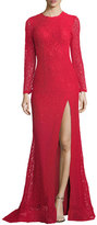 Jovani Long-Sleeve Slit Lace Evening Gown