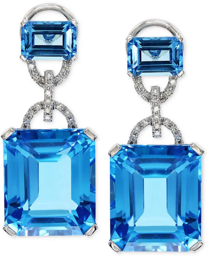 Effy Blue Topaz (28-1/5 ct. t.w.) and Diamond (1/8 ct. t.w.) Earrings in 14k White Gold