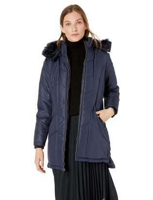 Details Women's Knee-Length Winter Coat with Faux Fur Trimmed Hood