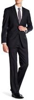 Hart Schaffner Marx Grey Stripe Two Button Notch Lapel Wool Suit