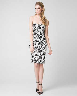 Le Château Floral Print Jacquard Sweetheart Dress