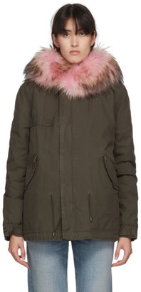 Mr & Mrs Italy SSENSE Exclusive Pink and Green Fur Mini Parka