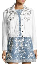Alice + Olivia Chloe Studded Cropped Denim Jacket, White