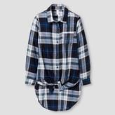 Xhilaration Girls' Flannel Top Blue S