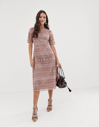 Asos Design DESIGN premium lace midi dress-Pink