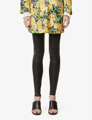Alice + Olivia Maddox skinny mid-rise leather trousers