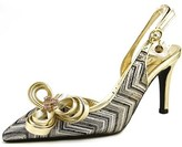 J. Renee Reeda Women Pointed Toe Canvas Gold Slingback Heel.