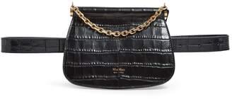Max Mara Leather Croc-Embossed Belt Bag