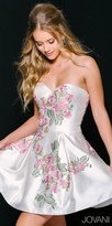 Jovani Embroidered Floral Strapless Sweetheart Fit and Flare Cocktail Dress