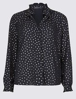 M&S Collection Metallic Spotted Popover Long Sleeve Blouse