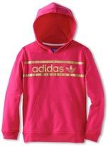adidas Kids - Kids' Heritage Logo Hoodie (Little Kids/Big Kids) (Blast Pink/Tech Gold Metallic) - Apparel