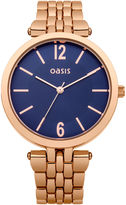 Oasis Rose Gold Blue Dial Watch