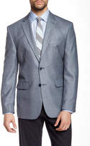 Vince Camuto Blue Sharkskin Two Button Notch Lapel Jacket