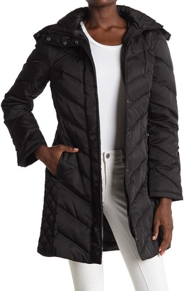 Kenneth Cole New York Faux Fur Trimmed Removable Hood Quilted Down Puffer Jacket