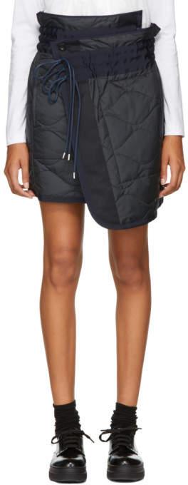 Sacai Navy Quilted Nylon Wrap Miniskirt