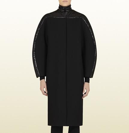 Gucci Black Wool Coat With Python Neckline