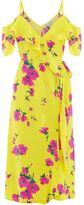 Warehouse Delia Flower Frill Wrap Dress
