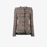 Alexander McQueen leather trimmed fitted tweed jacket