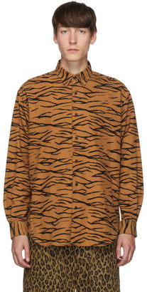 John Lawrence Sullivan Johnlawrencesullivan Orange and Black Regular Collar Tiger Shirt