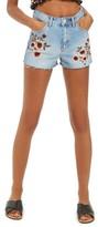 Topshop Women's Blossom Embroidered Denim Mom Shorts