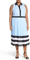 MICHAEL Michael Kors Plus Size Women's 'Billerly' Pleat Midi Shirtdress