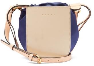 Marni Gusset Small Leather Shoulder Bag - Beige Multi