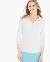 Chico's Solid 3/4-Sleeve Polo