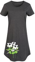 Instant Message Women's Women's Tee Shirt Dresses HEATHER - Heather Charcoal & White Flower Short-Sleeve Dress - Women & Plus