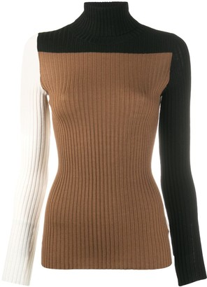 Nude Panelled Ribbed Jumper