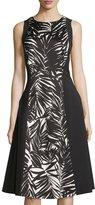 Lafayette 148 New York Judy Palm-Print Paneled Dress, Black/White