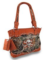 Zeckos Over Sized Forest Camo Rhinestone Skull Concealed Carry Purse