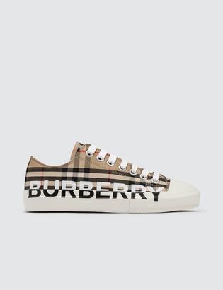 Burberry Logo Print Vintage Check Cotton Sneakers