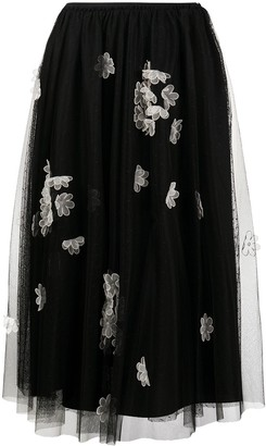 RED Valentino Floral-Applique Tulle Layered Skirt