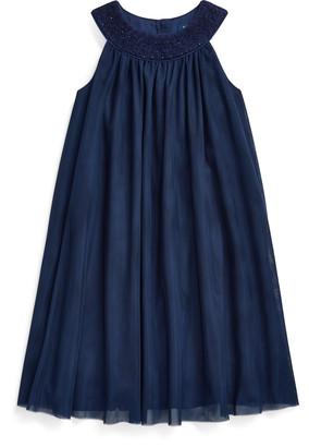 Ralph Lauren Hand-Smocked Tulle Dress