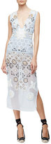 Altuzarra Embellished-Chiffon Eyelet Dress, Pale Blue