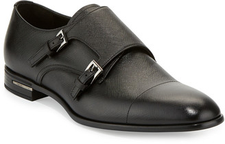 Prada Saffiano Leather Double-Monk Shoe, Black