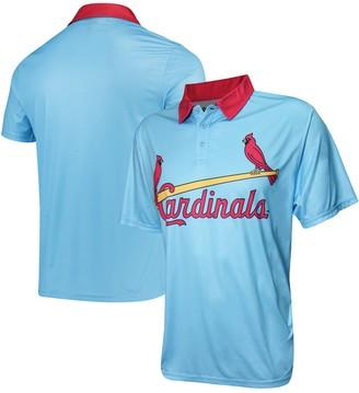 Stitches Men's Light Blue St. Louis Cardinals Sublimated Polo