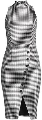 Black Halo Sofie Sleeveless Houndstooth Sheath Dress