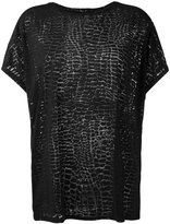 Diesel 'T-Hanna-AB' sheer crocodile effect T-shirt - women - Nylon/Viscose - XXS