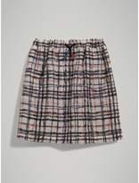 Burberry Scribble Check Gathered Silk Skirt