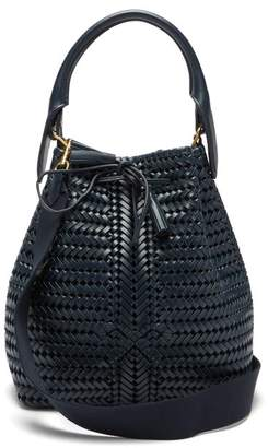 Anya Hindmarch The Neeson Woven-leather Bucket Bag - Womens - Navy