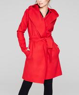 Red Hooded Wool-Blend Coat