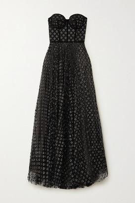 RALPH & RUSSO Strapless Velvet-trimmed Glittered Polka-dot Flocked Tulle Gown - Black