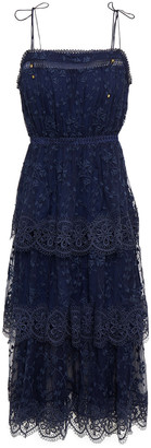 Zimmermann Tiered Guipure Lace-trimmed Embroidered Silk-crepon Dress